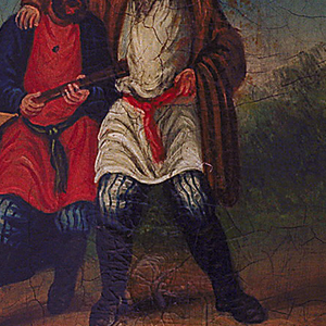 Oblong, curved vertical sides, featuring square cental reserve with painted scene of two bearded males in Russian peasant dress singing. Character on left has brown hair, short beard, wears short black hat, knee length red shirt with blue sash, blue striped pants, black and brown knee-high boots, dark blue overcoat, and plays a mandolin; character on right has one arm around other male, and has white hair, long beard, wears tall black hat, knee length white shirt with red sash, white striped pants, black and brown knee-high boots, brown overcoat. They stand on dirt road against a green landscape and blue sky. Undecorated portions of box in black lacquer, all parts have clear crackle finish. Slip-top cover may be removed entirely. Sandpaper striker adhered to bottom.