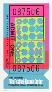 Poster in form of a ticket with black text that reads: ADMIT ONE and numbers to accompany. Graphics are in pink and blue with rows of geometric shapes on yellow ground. Below a faux perforated line with section that reads: FIFTH NEW YORK / Film Festival-Lincoln Center / PHILHARMONIC HALL SEPTEMBER 20-30.