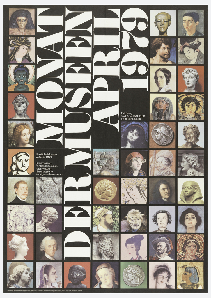Poster featuring grid pattern filled with artworks, heads and portraits. Lettering in white.