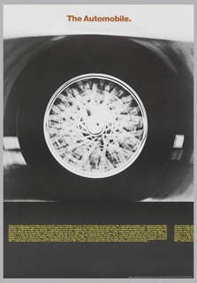 Photograph of a car's tire while driving. Yellow text below.