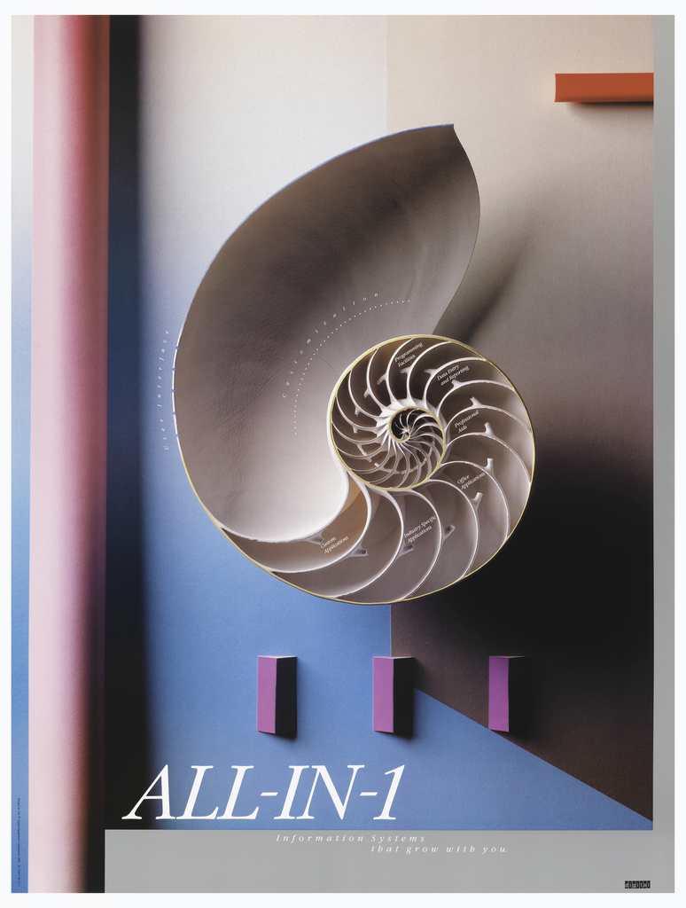 On blue and pink ground, a pale pink nautilus snail shell at center, cut open to show curving interior segments. Printed text within these segments and at the right edge of the shell. Below, three purple pyramid prisms arranged in a row, their right sides in shadow. Below, white printed text. Gray rectangular margin at lower right and right edge. A pink cylindrical pipe form at left edge, and a red rectangular block at upper right.