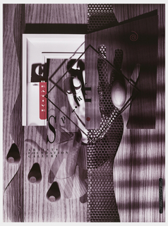 Poster in collage style with wood grain background, white frame, the shadow of a hand, a transparent hand, perforated plastic panel, a square, shadows, spherical knobs lower left. Text reads in vertical formal: C [as a shadow on the white frame] REATIVE [in white on fuchsia]; hand at center with text: SPIRIT; lower left: ARTISTS / FOUNDATION / GALLERY; on knobs, in red: NOV / 6  TO  DEC / 30.