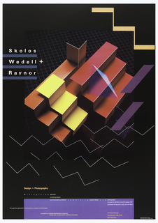 Poster in black depicting stepped overlapping abstract design in yellow, orange, fuchsia and purple. Zigzags in peach in upper right, white lined zigzags below, as though partitions seen from above, on lightly gridded ground. Upper left, in white with blue underline: Skolos / Wedell + / Raynor. Lower section, in peach and white text: Design + Photography / an integrated approach / to solving today's / communications problems combining graphic design and photography [on blue box] / to create an effective visual language that / addresses the specific needs of each client; through the application of innovative concepts and techniques / to produce corporate identification programs, / brochures, annual reports, exhibits and posters; 13 Harvard Street / Charlestown, MA 02129 / (617) 242-5179