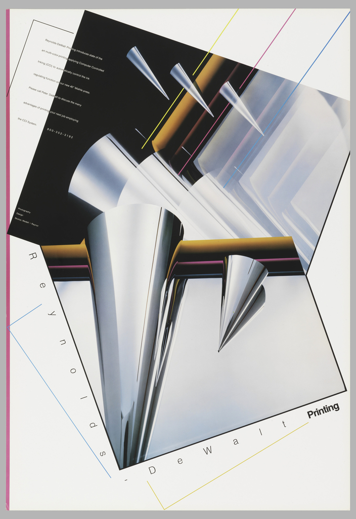 """On a white poster, depiction of two images overlapping one another which show chrome cones of various sizes. Also some abstracted cylindrical objects and colorful lines (faux printer ink lines) at the top. Text in black and white overlap the black and white of the images: Reynolds-DeWalt Printing introduces state of the / art multi-color printing applying Computer Controlled / Inking (CCI) to automatically control the ink / regulating function on our new 40"""" Miehle press. / Please call Peter DeWalt to discuss the many / advantages of printing your next job employing / the CCI System.   800-352-3192; pink edge on left. Lower section, along images: Reynolds –DeWalt Printing. Center left, in white: Photography / Design / Skolos, Wedell + Raynor"""