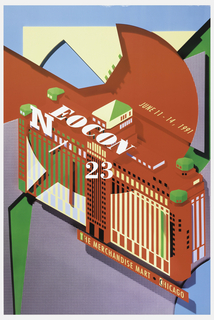 Colorful poster depicting a bright red and white building with green and black details, sky blue background and tan abstract shape behind. On building, white yellow text reads: JUNE 11 – 14, 1991 / NEOCON / 23. Below building: THE MERCHANDISE MART . CHICAGO. Lower section covered in gray-blue and white grid pattern.