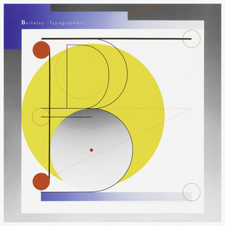 "Poster in white with left, upper, and right edges in blue and gray gradient. Poster depicts a large yellow circle with a smaller gray and white gradient circle below. A large 'P' covers the circle with red dots. Dotted line crosses right side of yellow circle. Text in white, upper left: Berkeley Typographers. Lower right, in red: 340 ""C"" Street, South Boston, MA 02127 Tel. 617-269-6160."