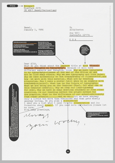 The poster design is laid out as if it were an edited letter. The body of the text is highlighted in yellow (the title is in red). Black blocks with white lettering appear in the margins and arrows point to significant highlighted words in the text.