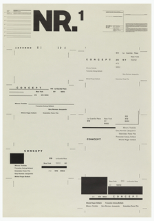 Poster design consists of five separate formats for business cards, greatly enlarged. At upper left center in large black block letters: NR.1. The sheets presents five concepts, two at left, three at right with different fonts and lines which create formal compositions with a minimum of elements. At upper left corner a statement regarding the designers and project. At upper right a statement from the designer/project head describing the educational agenda of the class. The mock business card contains the following reference to a design firm and address: Michel Roger Bollack, Francoise Astorg Bollack, Minoru Yoshida, Gary Norman Jacquemin, Estanislao Perez Pita; 510 La Guardia Place, New York, NY 10012; Telephone: 212 473-9652
