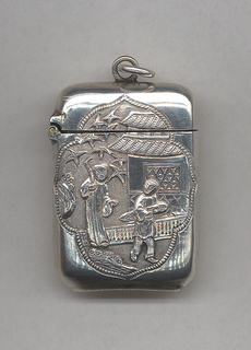 Rectangular, rounded sides and corners, featuring lotus-shaped reserve with Asian adult male and boy in garden setting, house in background, reverse features lotus-shaped reserve with plum blossoms. Link attached to lid at top, lid hinged on side. Striker on bottom.