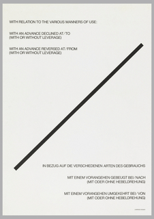 Exhibition poster with English text at upper left corner; German text in lower right corner.  At center, black diagonal line extends between lower left corner and upper right corner.