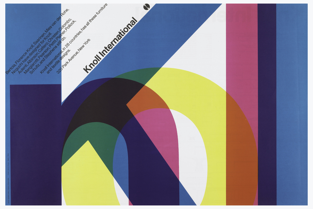 On a white ground, overlapping transparent colorful letters: Knoll. Upper section in black ink, text: Knoll Internation.