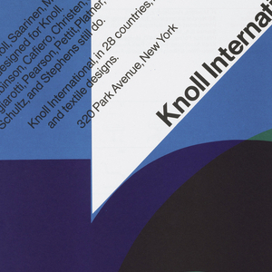 On a white ground, overlapping transparent colorful letters spelling Knoll. Upper section in black ink, text: Knoll International.