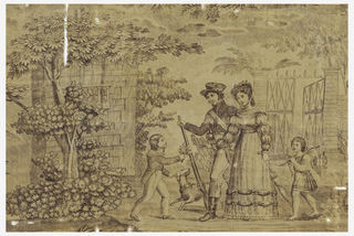 Fragment shows a soldier walking with a young woman as Cupid trails behind. A young boy holding flowers greets the couple. A dog walks next to the soldier. Trees and architectural elements are in the background. In mauve on white.
