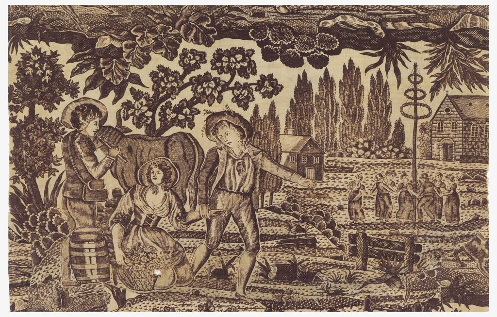 Fragment printed in purple on white showing a pastoral scene with two men and a woman in the foreground. One man plays a flute as the other man takes the hand of a woman kneeling on the ground. In the background, figures are dancing around a maypole.