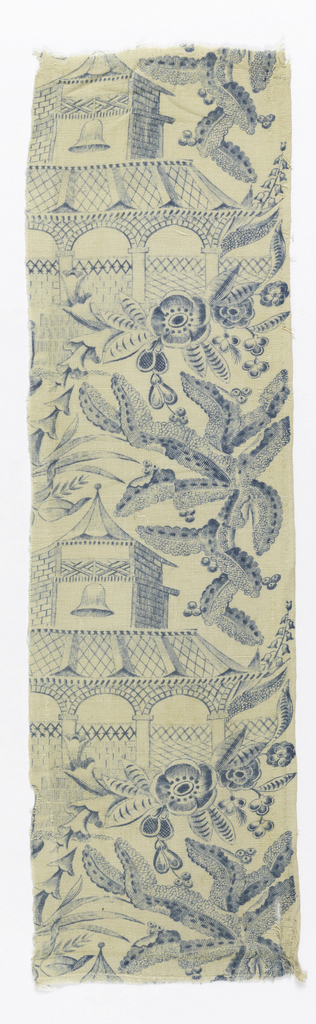 Two pieces of a chinoiserie pattern in blue with a design of pagodas and large-scale vegetation.