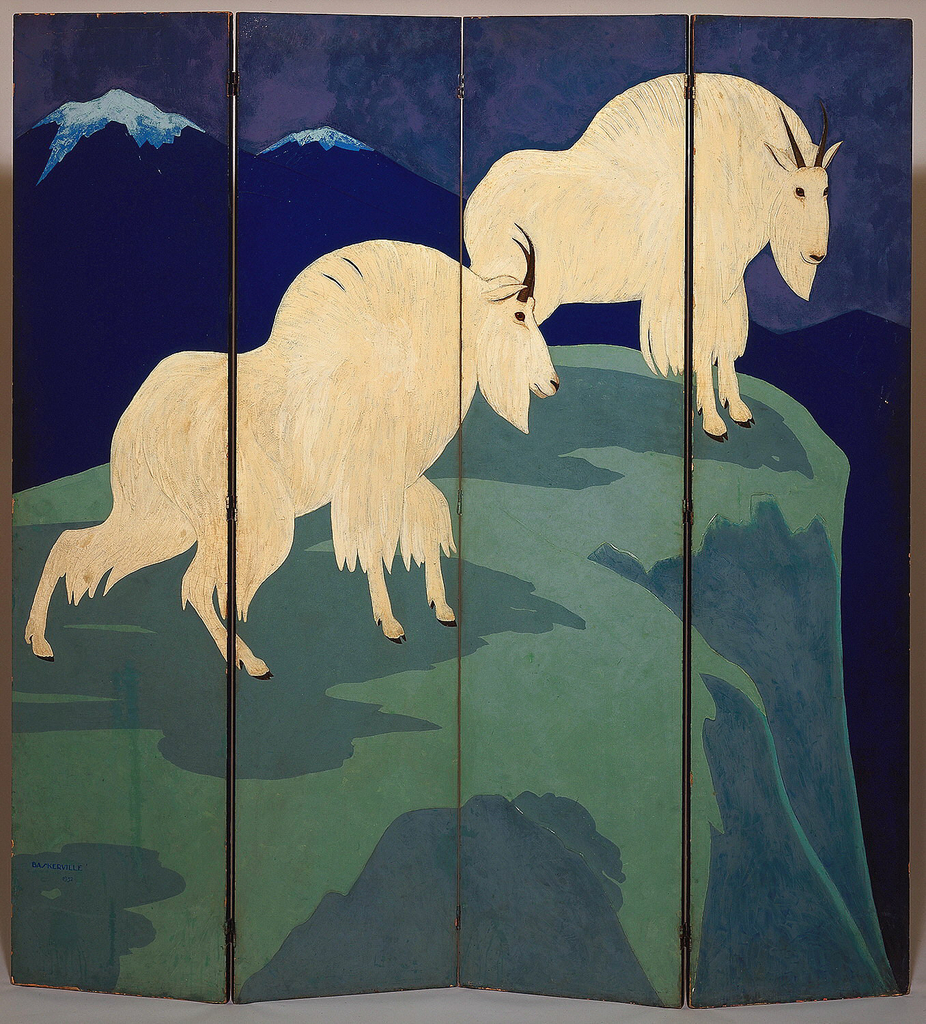 A four paneled screen depicting two Rocky Mountain goats on a grassy cliff with dark blue mountains behind them.