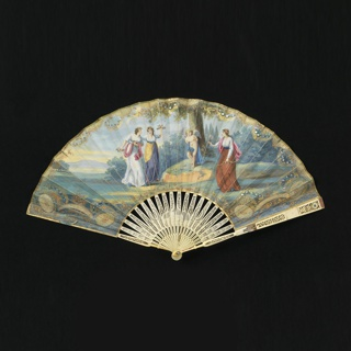Pleated fan. Paper leaf painted in the style of Angelica Kauffman (Swiss, 1741–1807). Obverse: scenes of cupid tied to tree with women with bows, arrows and flowers. Reverse: plain. Ivory sticks carved à jour with a central cartouche in relief of a reclining woman.