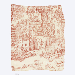 Printed cotton textile fragment in red on white background. A well-dressed young boy doffs his hat to an older couple in a dense, rustic setting.
