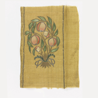 Pale green plain weave silk embroidered with silk and metallic yarns showing a bouquet of leaves and fruit tied with a silver ribbon.