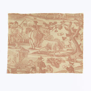 Printed cotton textile fragment showing a town scene: a bull chases a man with book and tricorn hat up a tree;  a whip is passed between two equestrians; an elderly couple speak to a labourer.