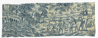 Printed cotton fragment. Blue dye on white ground showing equestrian hunters with hounds in landscape.