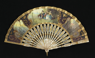 Silk leaf painted with gouache. Obverse: three rocaille medallions outlined with gilt and colored sequins; central medallion contains landscape figures in Louis XV dress; either wide shows dark landscapes. Reverse: painted at sides with scrollwork. Iridescent yellow mother-of-pearl sticks, pierced carved and painted. Fan case has removable lid