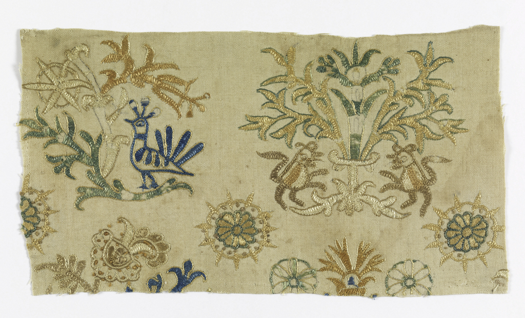 Unbleached heavy cotton, embroidered in colored silk floss with fantastic birds, trees, animals, and medallions.
