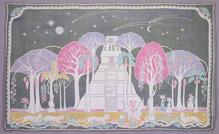 Horizontally rectangular batik hanging of a temple surrounded by trees against a sky with stars, planets, sun and moon. Three female figues with baskets on their heads appear on the right side; jaguars prowl among the vines in the foreground. Dark gray, lavender, light blue, pink and yellow, with white.