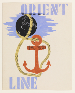 Study for an Orient Line advertising poster. A yellow rope looped through an orange ship's anchor encircles the globe of the world showing Europe and Africa. At top in light blue text, upper right: ORIENT; lower left: LINE.
