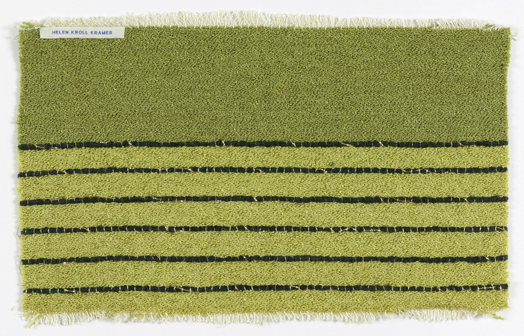 Bands of yellow and green with black horizontal lines with bouclé.