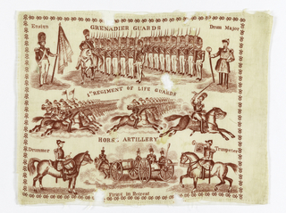 Handkerchief printed in red on white ground. Top section has Grenadier Guards being reviewed. Just below is the Horse Artillary. Bottom section shows Firing in Retreat. Corners have Ensign, Drum Major, Drummer and Trumpeter. Small decorative motif forms border on four sides.