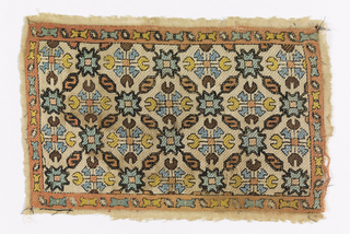 Fragment showing a diamond lattice containing geometric flowers in multicolored silk on a drawnwork ground.