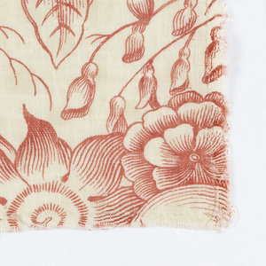 """Six fragments of a red pattern with birds, flowers, and baskets of flowers contained within two S-diagonal unjoined ogee bands. Height of repeat: 30cm (11 ¾""""); no repeat within width of fabric. Selvage present on A & B."""