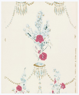 Sprays of delphiniums and red roses and crystal chandelier pendants in stylized pattern: a) red, pale blue, dark green and gold on white ground; b) slate blue, slate gray, white and pale blue-gray on mustard ground; c) salmon, brick-red, white, yellow, dark and light green on bluish-gray ground.