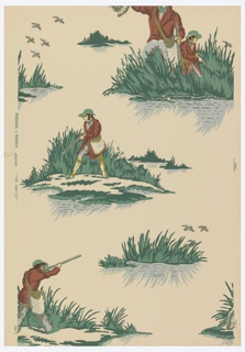 Random arrangement of duck shooters in the marshes all of whom carry guns. Largest figure holds duck aloft in right hand, while others point guns at flying game. a) Dark and light blue, dark and light green, white, bronze, black on blue-gray ground; b) Copper color, green, gray, olive drab, on pinkish, gray ground.
