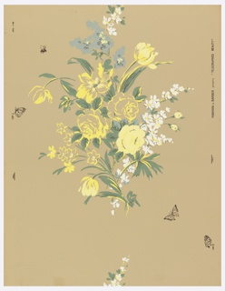 Large, loose floral spray. Random arrangement with butterflies and bees. a) Greenish, yellow and white flowers on white ground; b) yellow, buff, and white flowers on buff ground. Drop match.
