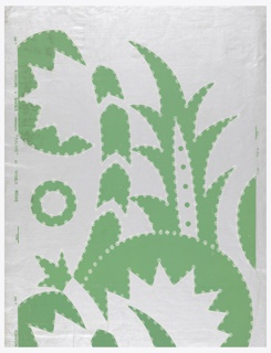 """Very large """"Modern"""" design, green on silver ground. Highly conventionalized palm leaves and trunks, jagged outlines, circular motifs. A good many elements of the design are non-representational, and an effect of mechanical parts is achieved."""