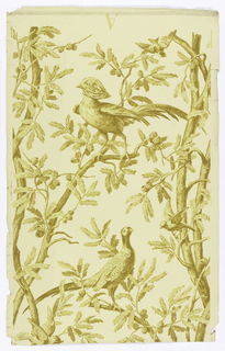 Large-scale birds (pheasants?) in trees, with the birds in the center of the design with trees running up either side, printed in shades of ochre on off-white.