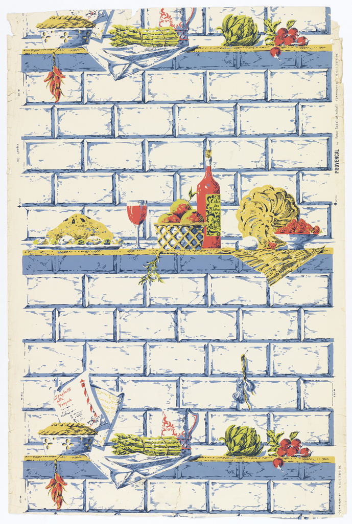 Artichoke, radishes, red peppers, bottle of wine sitting on shelf. The background is a brick wall. Printed in green, yellow, red and blue.