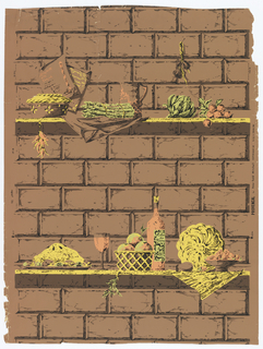 Artichoke, radishes, red peppers, bottle of wine sitting on shelf. The background is a brick wall. Printed in yellow, apricot, green and brown.