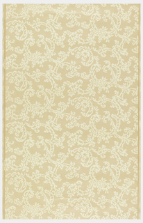 Embossed lace imitation in off-white on peach ground.
