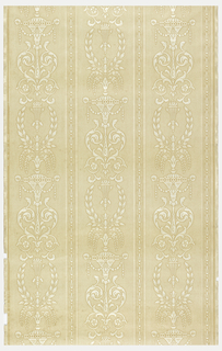 Rococo stripe of white embossed on a tan ground.