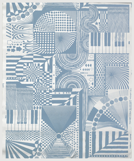 Op art design of blue stars, dots, prisms, and geometric shapes on a metallic silver ground.