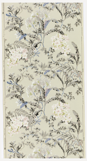 Large-scale branches and blossoms. Groups of pink flowers, and plume-like foliage. Printed in pink, white, blue and black on tan ground.