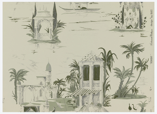 Scenic vignettes of large, gracious homes, people strolling, birds, and palm trees, printed in green and gray on a white ground.