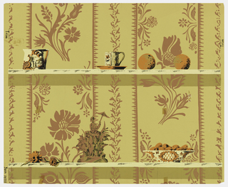 A pitcher, a cup and saucer, and two oranges are placed on a shelf. Another shelf is below, containing two fruits, a sculpture, and a bowl full of fruit.  Behind these shelves is the appearance of a papered wall, containing a stylized floral motif.  Printed in brown and orange on a tan ground.
