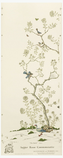 "Four panels forming scenic mural. Two panels compose ""The Ducks"" while the other two compose ""The Doves"". Printed in colors on a white ground. Historic Williamsburg reproduction."