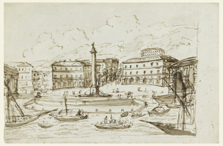 Landscape with large column at center, and boats on water near shore; buildings in the background.