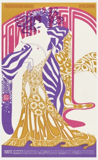Poster for a 1967 concert in San Francisco, featuring Howlin' Wolf, Country Joe and the Fish, and Loading Zone.  Predominently white background, purple female figure in mustard dress. Bottom of dress is made up of flowers and text: Fillmore Aud.  Fri Sat Apr 14-15 8pm-2am $3: Sun Apr 16 2pm to 7pm $2  Behind her, extremely stylized, attenuated pink text: Howlin' Wolf  In mustard and white text on the right side: Country Joe Loading Zone & The Fish Visual simulation: Head Lights  Top border, in red outline all-caps san-serif, on mustard: Presented in San Francisco by Bill Graham  Bottom border, ticket listings in white on purple.