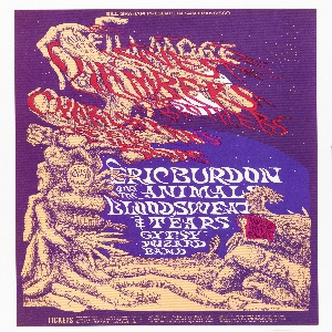 Poster featuring a night scene with gnarled tree-like objects in the form of fingers and hands. Ticket information below.